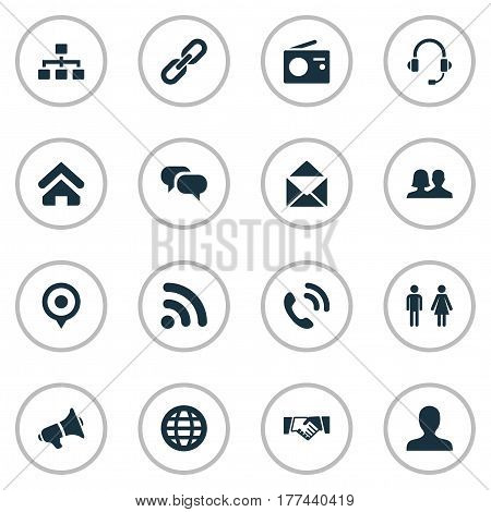 Vector Illustration Set Of Simple Transmission Icons. Elements Pin, Headphone, Handshake Synonyms Letter, News And World.