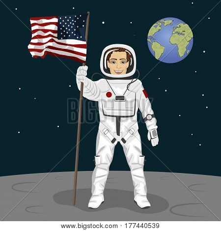 Young brave astronaut standing on the moon holding usa flag on the backround of earth