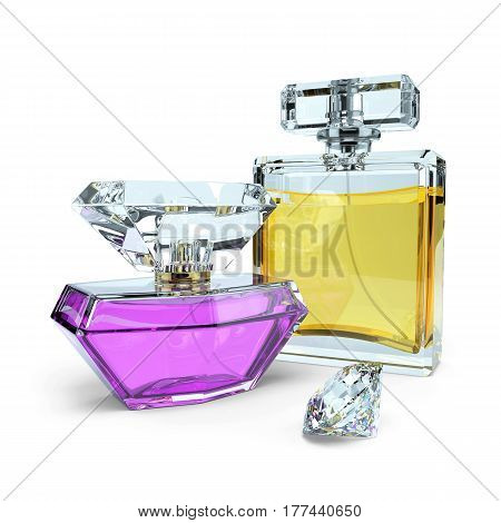 Perfume bottles and diamond isolated on white background 3d