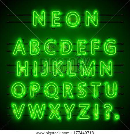 Neon font city. Neon green font eps. Lamp green font. Alphabet font. Vector