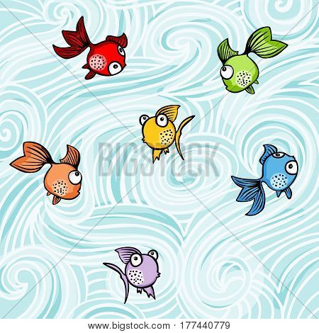 Scalable vectorial image representing a funny colorful fishes background.