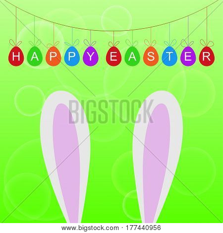 Easter greeting card with colorful garland or banner and bunny ears on green background. Vector illustration.