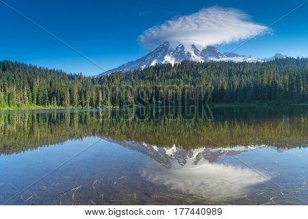 Mount Rainier Reflection at sunrise on Reflection Lake