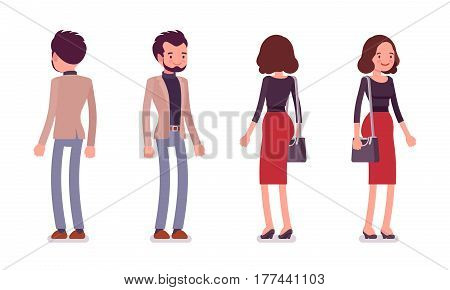 Set of young lady and gentleman in elegant smart casual wear, standing pose, holding handbag, happy and successful people, full length, front, rear view isolated, white background