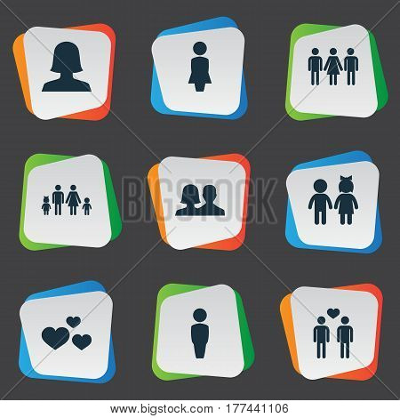 Vector Illustration Set Of Simple Lovers Icons. Elements Mister, Madame, Candidate Synonyms Woman, Girl And Lady.