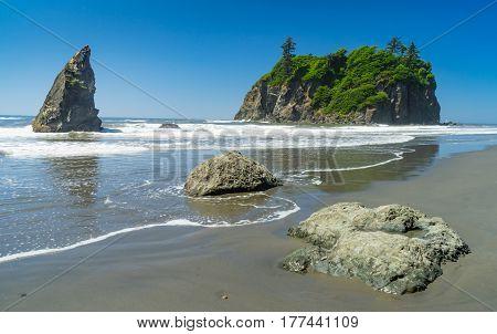 Sea stacks on Ruby Beach Olympic National Park Washington