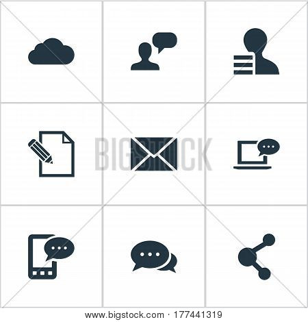 Vector Illustration Set Of Simple Blogging Icons. Elements Post, Argument, Document And Other Synonyms Gain, Cloud And E-Letter.