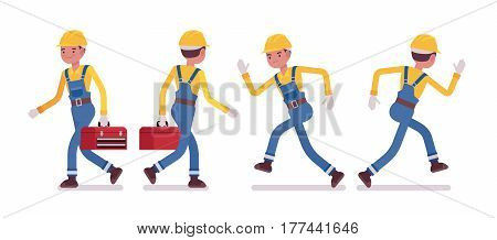 Set of male professional busy industrial service worker in running pose, wearing yellow protective hardhat, blue overall, holding red toolbox, full length, front, rear view, isolated, white background