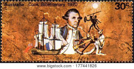 UKRAINE - CIRCA 2017: A stamp printed Australia shows Captain Cook bicentenary circa 1970