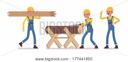 Set of male strong worker, wearing yellow protective hardhat, blue overall, sawing a log on a sawbuck into lumber, carring a plank, foreman giving orders, full length, isolated, white background