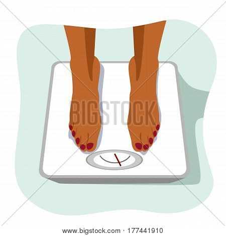 feet of african american woman standing on a weight scale. Concept of weight loss.
