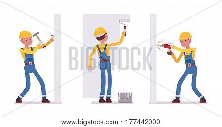 Set of male construction worker in a yellow protective hardhat, blue overall, making repairs indoor, working with walls, hammering a nail, painting, drilling, full length, isolated, white background