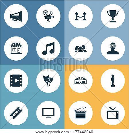 Vector Illustration Set Of Simple Film Icons. Elements Action, Family, Megaphone And Other Synonyms Prize, Pass And Grocery.