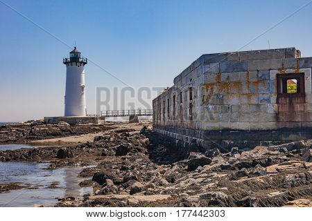 Portsmouth Harbor Lighthouse and the ruins of Fort Constitution in Portsmouth New Hampshire