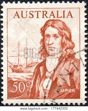 UKRAINE - CIRCA 2017: A stamp printed Australia shows image portrait of English explorer and navigator William Dampier circa 1966
