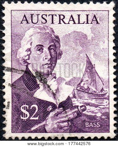 UKRAINE - CIRCA 2017: A stamp printed Australia shows George Bass circa 1966