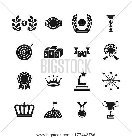 Award icons. Black vector competition awarding and achievement silhouette icon set isolated on white background. Medal and award for competition ceremony illustration