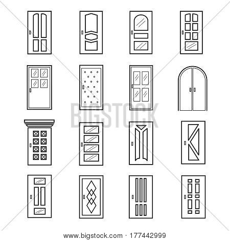Linear door icons. Thin outline line doors of elevator and entrance, metro and saloon vector. Doors for house and home illustration