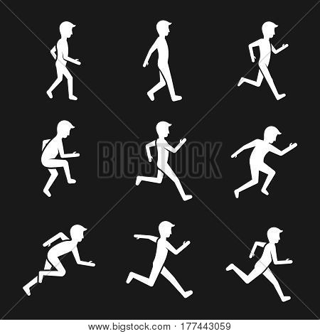 Motion activity figure icons. Human actions like walking and running, jumping and movement vector signs. White man silhouette training run illustration