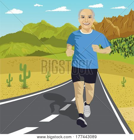 Senior man running or sprinting on the road in mountains. Fit mature male fitness runner during outdoor workout