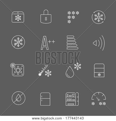 Freezing signs and freezer symbols. Refrigerator functional vector thin line icons. Blocking and antifreeze functions for refrigerator illustration