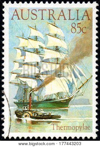 UKRAINE - CIRCA 2017: A stamp printed Australia shows ship Thermopylae circa 1984