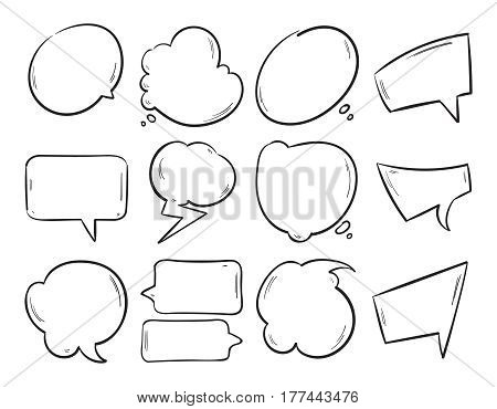 Doodle blank speech bubbles, hand drawn cartoon thinking shapes vector set. Shape of speech cloud for chat message illustration