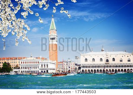 famous San Marco square waterfront at sunny spring day, Venice, Italy