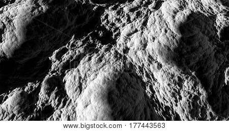 Black And White Moon Surface 3D Rendering