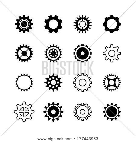 Transmission gear wheel, engine gearshift vector icons set. Gear mechanic machine illustration