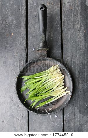 Ramson or wild garlic wild garlic on wood table
