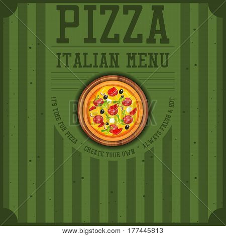 Pizza Cover Menu or Pizza Box for Delivery. Vintage Style. Square Format. Vector Illustration.