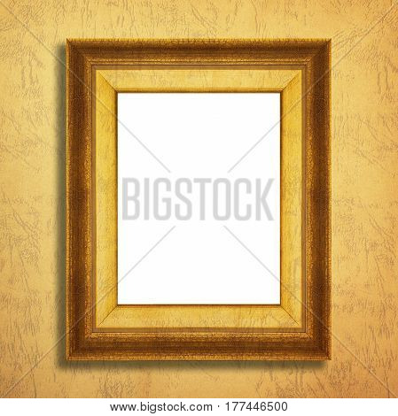Antique gold frame on a paper background