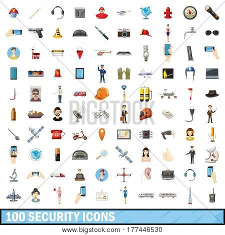 100 security icons set in cartoon style for any design vector illustration