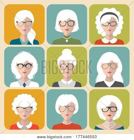 Vector set of different old woman with gray hair app icons in flat style. Heads and faces images collection