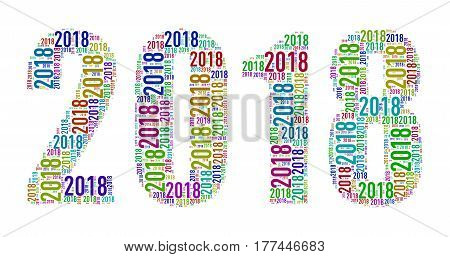 Illustration of happy new year 2018 custom shape wordcloud word tags design created with only 2018