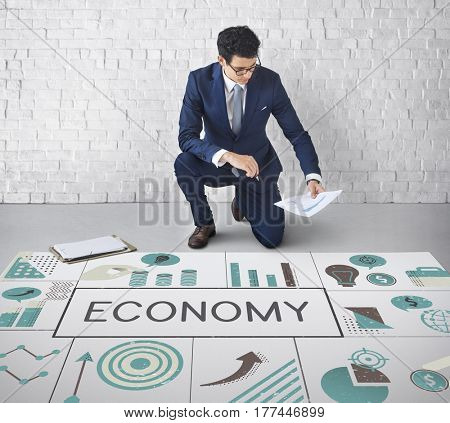 Businessman planning financial investment chart