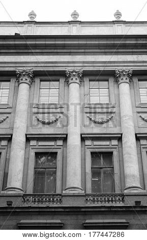 The facade of the Marble Palace in St.Petersburg Russia. Black and white.