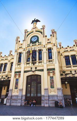 VALENCIA SPAIN - OCTOBER 1: Facade of the North station Estacio del Nord in Valencia Spain in 2013