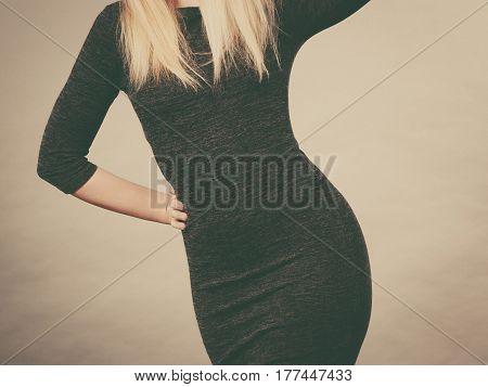 Woman Wearing Tight Slim Black Dress