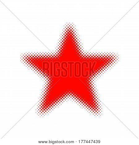 Halftone star icon. Vector illustration. Red flat star in halftone design.