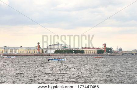 Spit of Vasilyevsky Island and Neva River in St.Petersburg Russia.