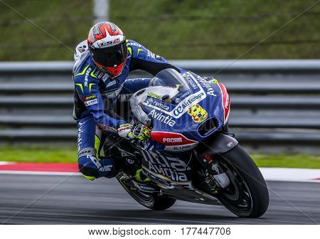 SEPANG MALAYSIA - JANUARY 30 2017 : Reale Esponsorama Racing rider Hector Barbera during 2017 MotoGP pre-season test at the Sepang International Circuit.