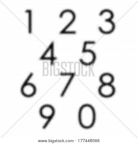 Set of black dotted halftone numbers. Vector illustration. Abstract numbers in flat design.