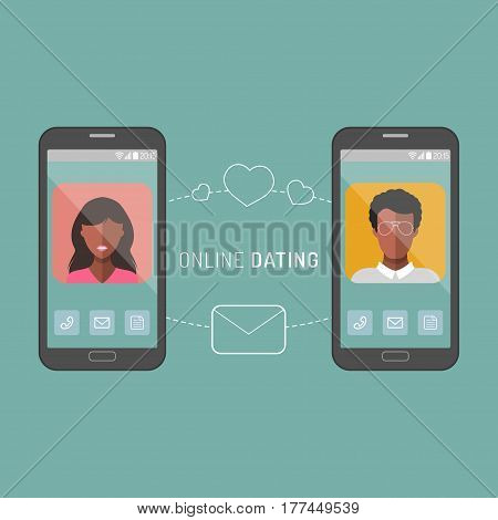 Vector illustration of online dating interracial couple app icons in flat style
