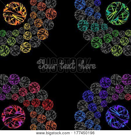 Bright Rainbow Templates for Text Business Presentation Cover. Abstract Frame with Colorful Whirling Circles on Black Background.