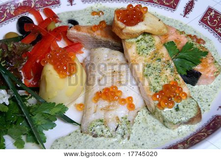 Fish fillet with caviar
