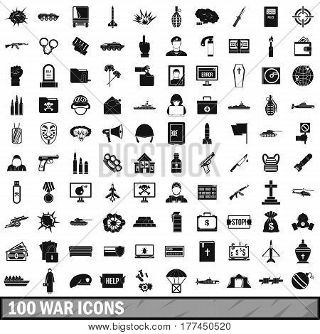 100 war icons set in simple style for any design vector illustration