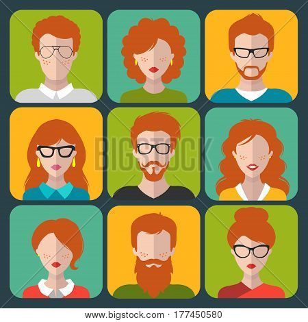 Vector set of different redhead people app icons in flat style. People heads and faces images collection