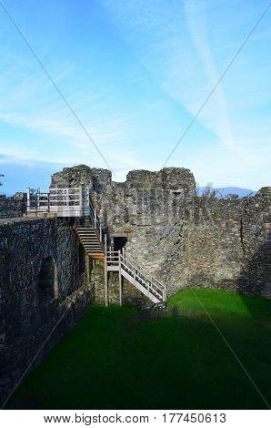 The gatehouse ruins at Dunstaffnage Castle in Scotland.